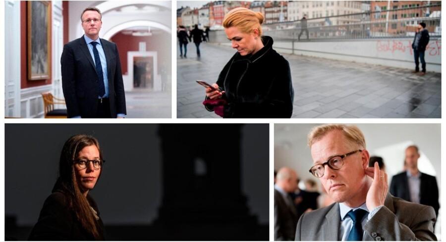 Morten Bødskov, Inger Støjberg, Mai Mercado og Carl Holst har alle oplevet at blive udsat for trusler. Foto: Linda KastrupSøren Bidstrup og Sofie Mathiassen.