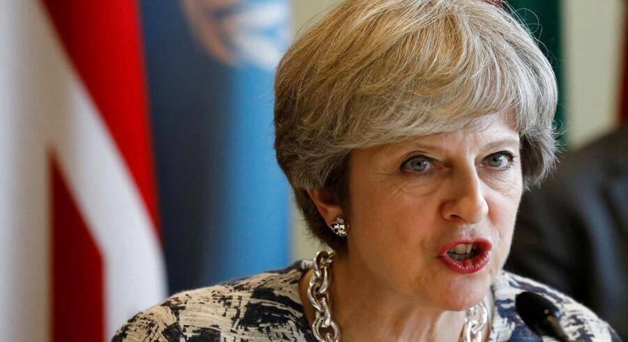 Den britiske premierminister Theresa May benytter FNs generalforsamling til - sammen med kollegaer fra Frankrig og Italien - at gøre teknologigiganterne klart, at der skal gøres mere for at få standset spredningen af terrorisme. Foto: Brendan McDermid, Reuters/Scanpix