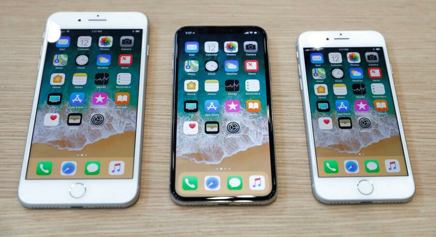 iPhone 8 Plus, iPhone X og iPhone 8.