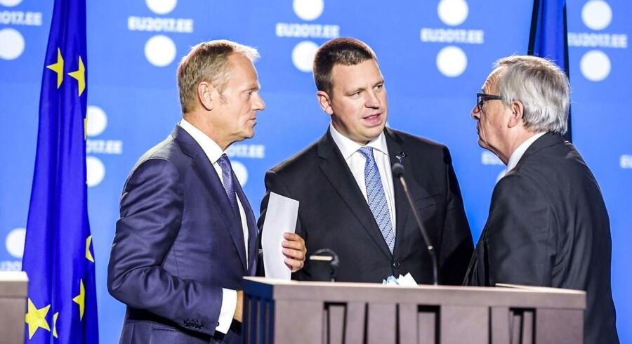Donald Tusk, Juri Ratas og Jean-Claude Juncker.