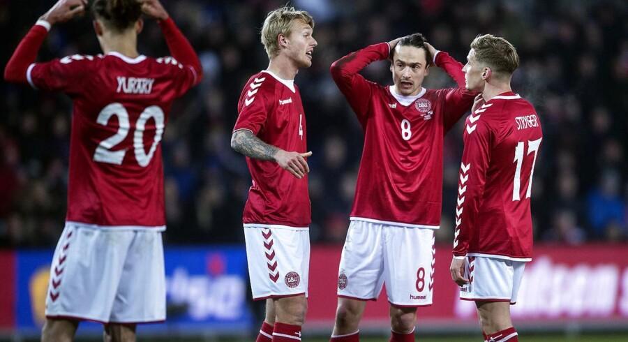 Danmarks Simon Kjær, Thomas Delaney og Jens Stryger Larsen under venskabskampen mellem Danmark-Panama på Brøndby Stadion torsdag den 22 marts 2018.
