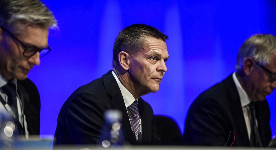 Danske Banks adm. direktør Thomas F. Borgen (tv) og fomanden Ole Andersen på generalforsamlingen i Danske Bank A/S i Tivoli Congress Center, torsdag den 15. marts 2018.
