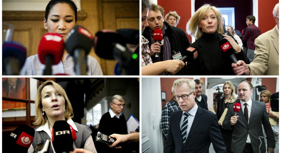 Anna Mee Allerslev (R), Henriette Kjær (K), Lene Espersen (K) og Carl Holst (V). Alle har de oplevet at komme i offentlighedens vridemaskine. Arkivoto: Scanpix