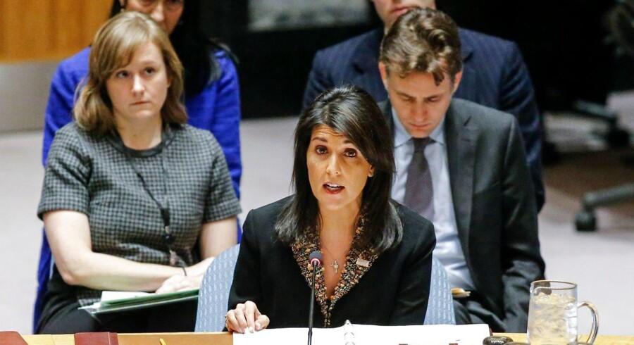 USAs FN-ambassadør nedlægger veto i Sikkerhedsrådet mod forsøg på at omgøre Trumps beslutning om Jerusalem som Israels hovedtad. / AFP PHOTO / KENA BETANCUR