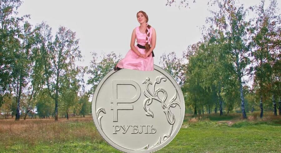 Den russiske sangerinde Masjani har fået et stort hit med nummeret »Jeg vil betale en rubel for en dollar«. Foto fra musikvideoen
