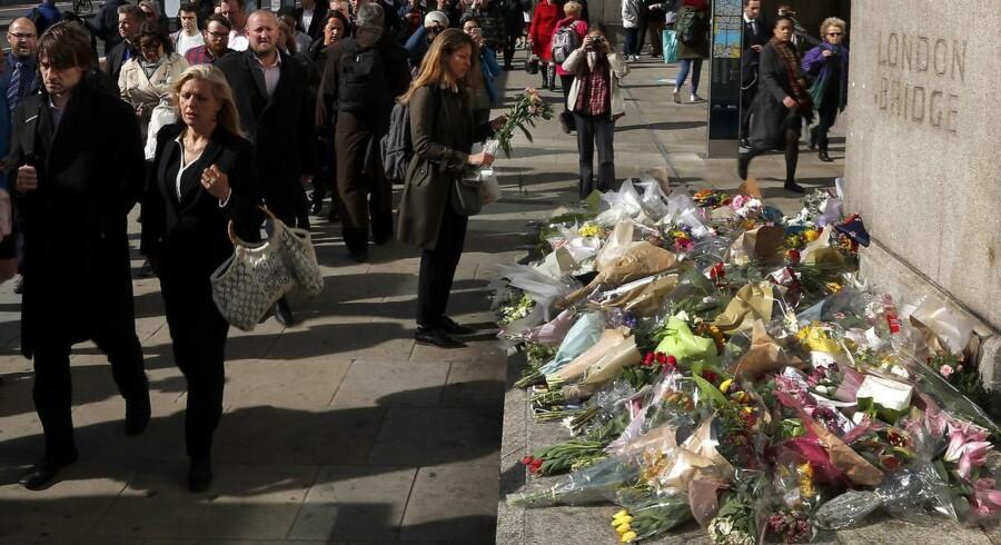 En dansker er blandt de sårede ved et angreb i London 3. juni. / AFP PHOTO / Adrian DENNIS