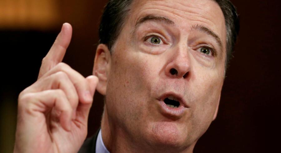 Chef for FBI James Comey ved en høring i det amerikanske Senat d. 3. maj 2017 (arkivfoto). REUTERS/Kevin Lamarque