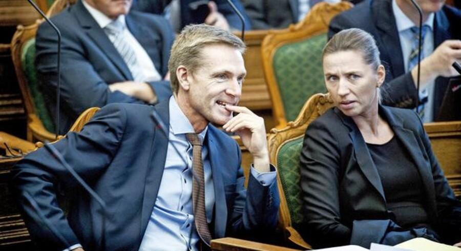 Arkivfoto: Åbningsdebat i Folketinget. Kristian Thulesen Dahl og Mette Frederiksen under åbningsdebatten i Folketinget torsdag d. 6 oktober 2016. (Foto: Liselotte Sabroe/Scanpix 2016)