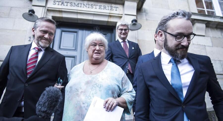 Nye ministre mødtes i statsministeriet mandag. Anders Samuelsen, Thyra Frank, Søren Pind, Ole Birk Olesen. (Foto: Ida Guldbæk Arentsen/Scanpix 2016)