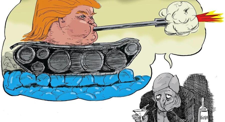 »På grund af den republikanske kandidat Donald Trump ringer hans telefon konstant med folk, der melder sig ud af Det Demokratiske Parti.« Tegning: Claus Bigum