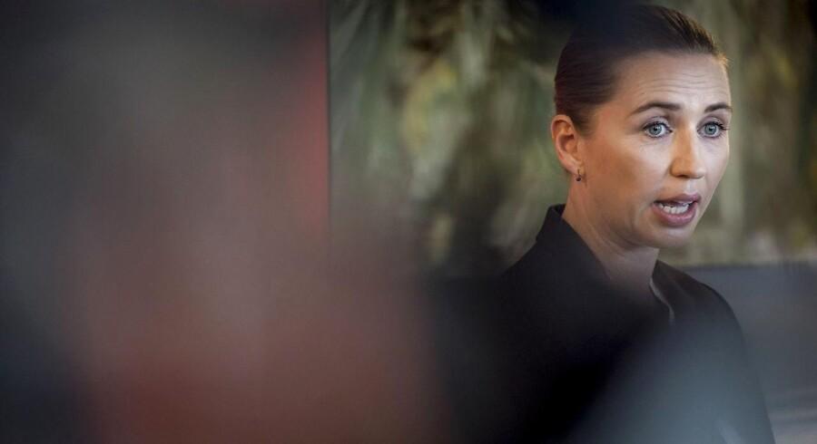 Socialdemokratiets formand Mette Frederiksen præsenterer udlændingeudspil i partiets gruppeværelse på Christiansborg, mandag den 5. februar 2018... (Foto: Mads Claus Rasmussen/Scanpix 2018)