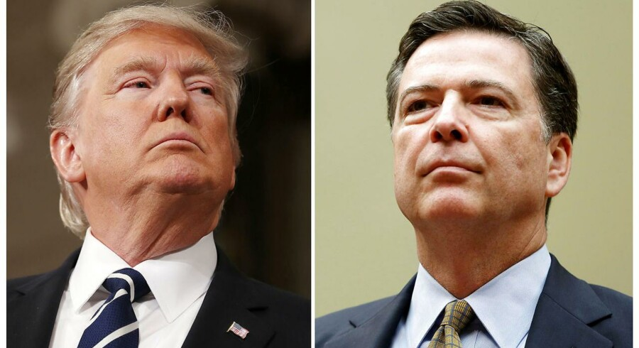 Donald Trump erkender nu, at det var efterforskningen af Russiagate, som fik ham til at fyre FBI-chef James Comey (th.). Og de ord er en invitation til en rigsgretssag for »obstruction of justice.«