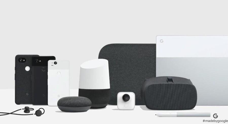 Årets høst af nyt Google-grej: To nye Pixel 2-telefoner, opdateret Google Home og ny lillebror Google Home Mini, stor Google Home Max-højttaler, ny bærbar Pixelbook-PC med digital pen og trådløse Google Pixel Buds-ørepropper. Foto fra Googles præsentation