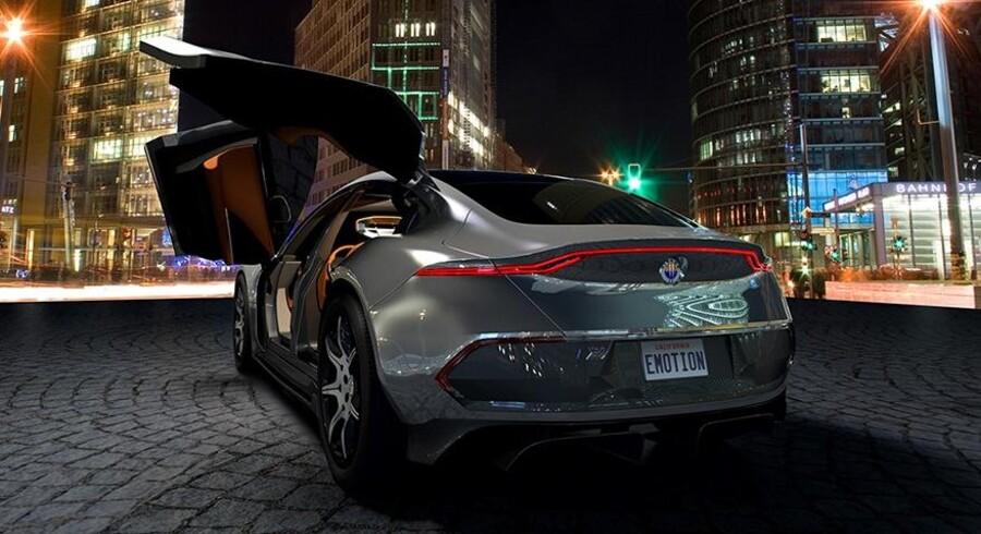 Elbilen, Fisker Emotion, der skal indtræde i kapløbet om bedste elbil mod Tesla. Bilen er designet af danske Henrik Fisker, der også har designet biler for Aston Martin, BMW - og i en kontroversiel periode - Tesla.