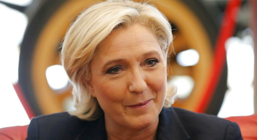 Marine Le Pen, French National Front (FN) party candidate for 2017 presidential election, attends a meeting at Guisnel company during a campaign visit in Dol-de-Bretagne, France, May 4, 2017. REUTERS/Stephane Mahe