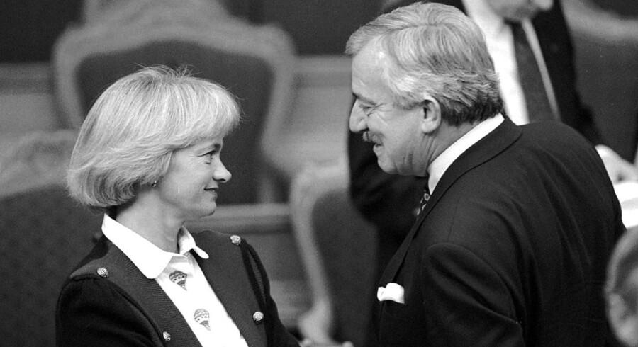 Uffe Ellemann og Pia Kjærsgaard under Folketingets åbning i 1994.