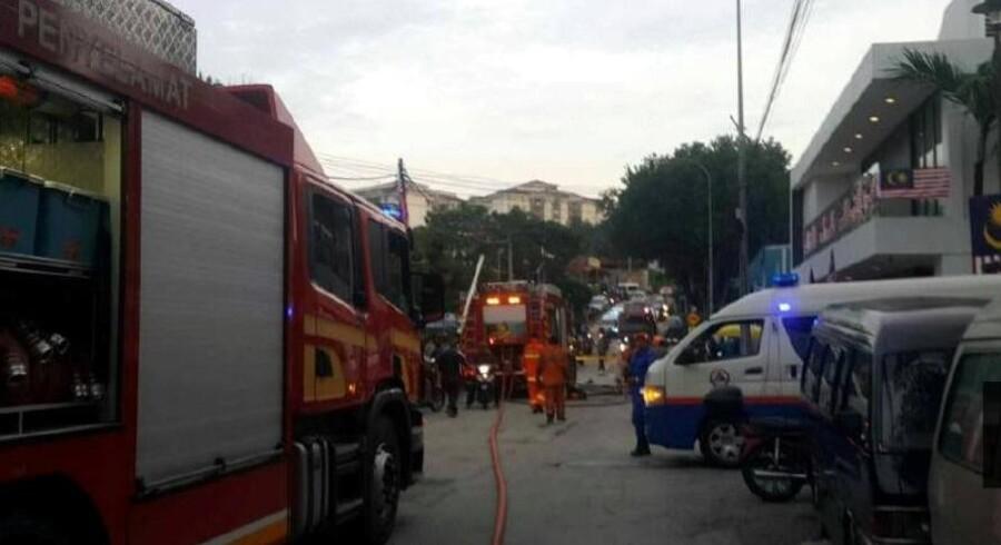 En brand på skolen Darul Quran Ittifaqiyah i Kuala Lumpur brød ud torsdag omkring klokken 05.40. Mindst 23 elever og to lærere er døde. Reuters/Handout