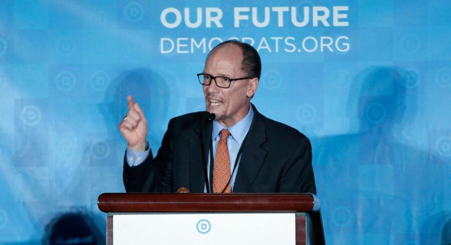 Ny formand for det Demokratiske Parti i USA,Tom Perez, holder tale til demokraternes konvent den 25. ferbruar.