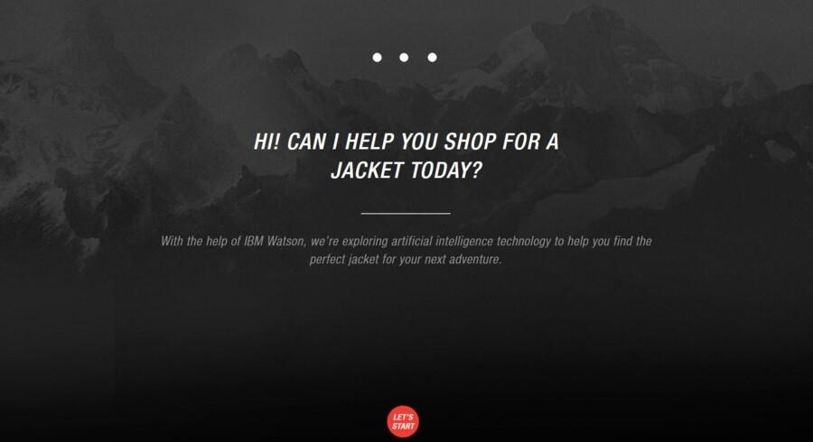 Skærmbillede fra den »personlige shopper« drevet af supercomputeren Watson på TheNorthFace.com