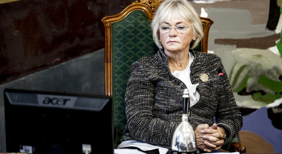 Formand for Folketinget, Pia Kjærsgaard (DF), under mødet i Landstingssalen på Christiansborg i København torsdag den 7. september 2017, hvor første behandling af finansloven for 2018 er på dagsordenen. Regeringens forslag til en finanslov for 2018 blev fremlagt 31. august.