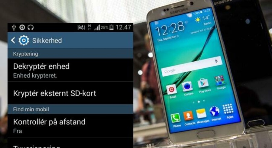 Man kan selv aktivere kryptering på sin Android-telefon under Indstillinger og Sikkerhed, hvis man ikke vil have snushaner til at kikke med. Fotocollage med arkivfoto fra Scanpix