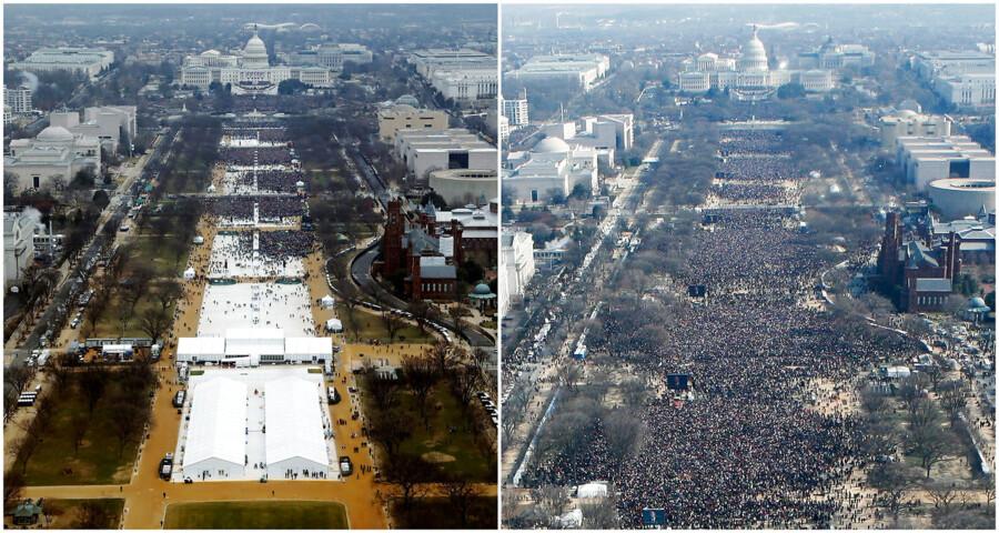 RB PLUS Trump: Jeg er i krig med medierne- - Combo-billede af Tha National Mall i Washington DC ved indsættelsen af Donald Trump som præsident (tv) d. 20. januar 2017 og indsættesen af Barack Obama (th) d. 20. januar 2009- - Se RB 22/1 2017 15.33. Trump: Jeg er i krig med mediernePå sin første hele dag som præsident forsøgte Donald Trump og hans stab at så tvivl om faktuelle oplysninger om fremmødet ved Trumps indsættelse. (Foto: STAFF/Scanpix 2017)