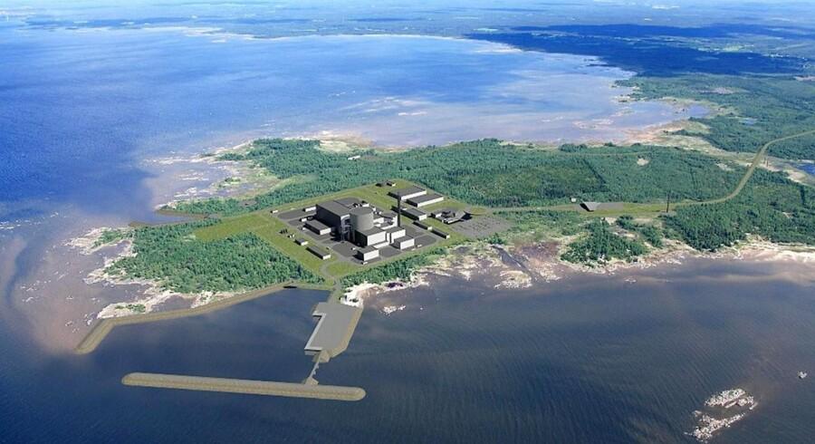 Det planlagte finske atomkraftværk, der skal bygges af russerne. Illustration: AFP