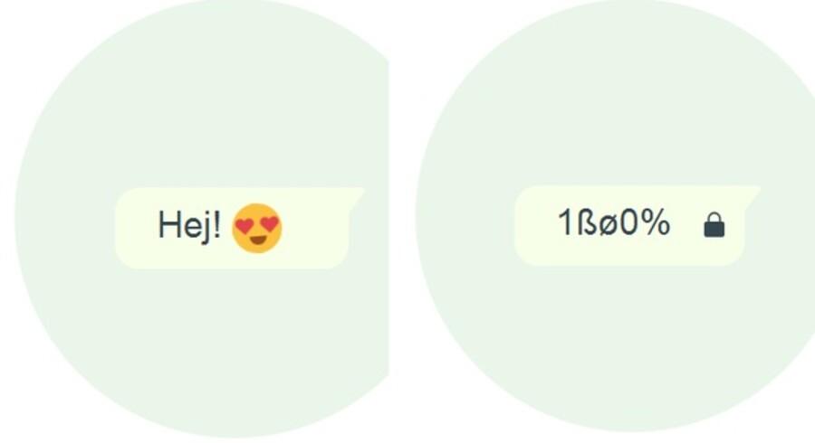 Når en samtale er krypteret, vil de involverede se f.eks. en chatbesked som helt almindelig tekst, men mens den sendes til modtageren, og nogen eventuelt skulle lytte med undervejs, vil den være kodet og fremstå som uforståeligt sludder, indtil den automatisk afkodes igen hos modtageren. Illustration: WhatsApp
