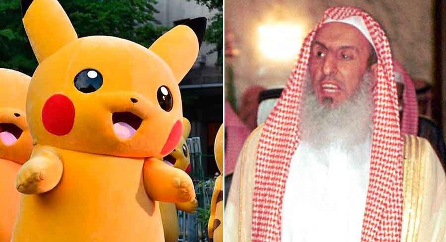 Den saudiske mufti Abdul Aziz bin Abdullah al-Sheik (th) advarer muslimer mod det populære mobil-spil Pokémon Go.