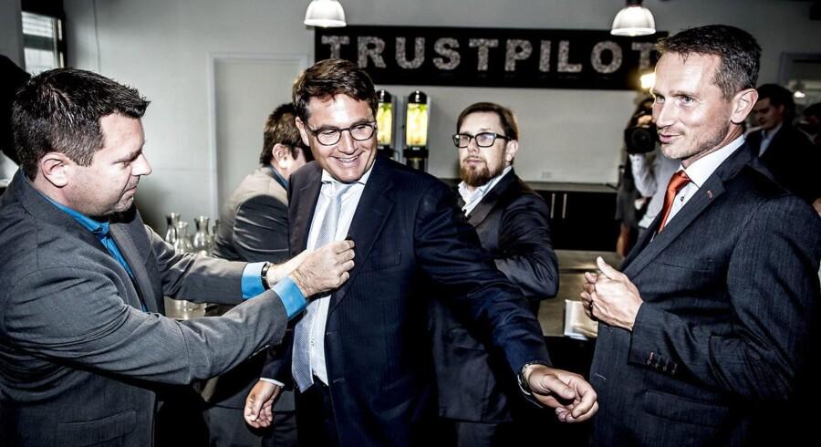 Erhvervsminister Brian Mikkelsen, finansminister Kristian Jensen og økonomi- og indenrigsminister Simon Emil Ammitzbøll hos virksomheden Trustpilot i København, hvor Regeringen præsenterer sit erhvervs- og iværksætterudspil, onsdag den 30. august 2017