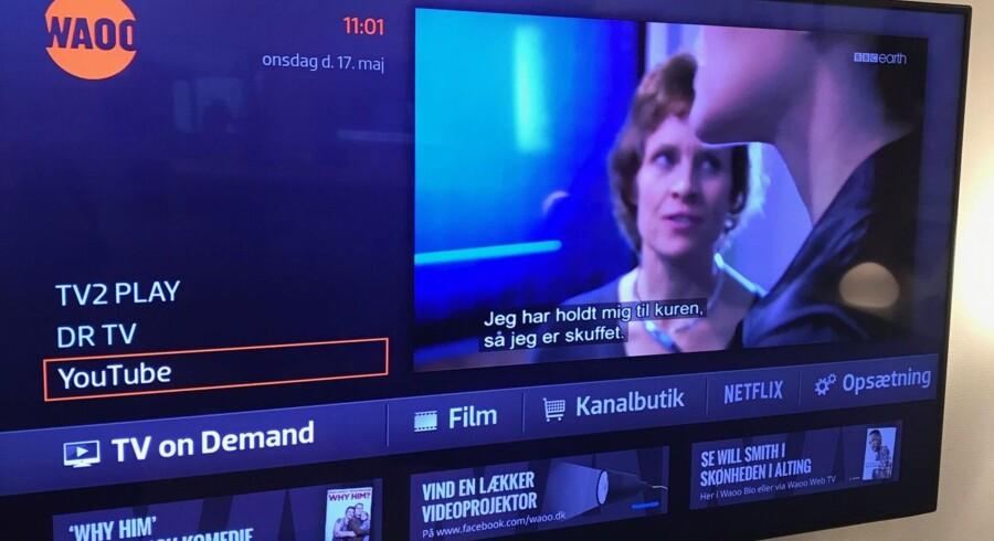 Med en opdatering af TV-leverandøren Waoos TV-boks kan kunderne i løbet af sommeren direkte på skærmen skifte mellem almindelige TV-kanaler og streamingtjenester som DR-TV, TV 2 Play og nu også YouTube - verdens mest brugte filmnettjeneste. Foto: Waoo