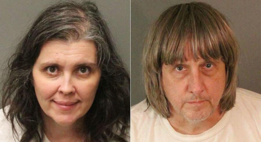 Forældreparret Louise Anna Turpin på 49 og David Allen Turpin på 57 er arresteret for at have holdt 13 børn i alderen to til 29 år indespærret i hjemmet. AFP PHOTO / Riverside County Sheriff's Department