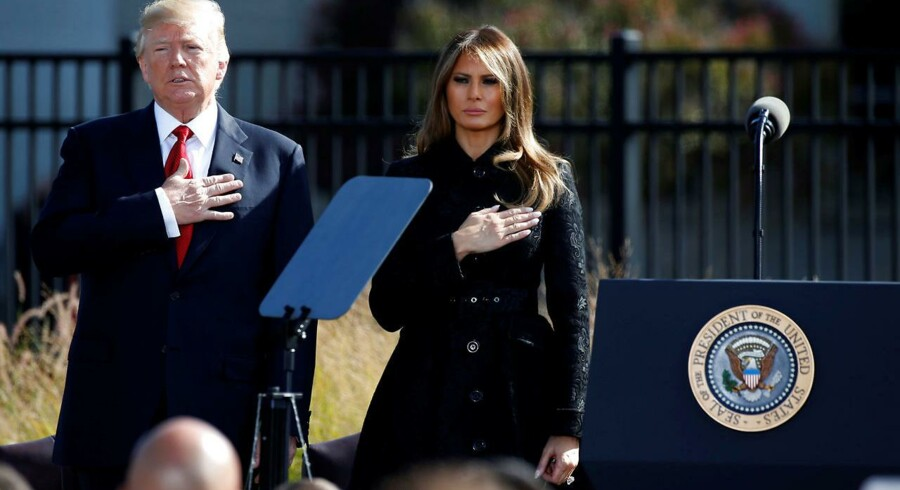 USAs præsident Donald Trump og dennes hustru, Melania Trump, under en ceremoni til ære for de døde under terrorangrebet i den 11. september, 2001.