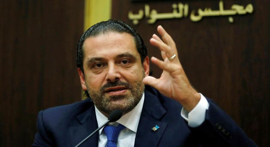 Arkivfoto: Libanons premierminister Saad al-Hariri på et pressemøde i Beirut, Libanon den 9. november 2017. Den libanesiske premierminister, Saad al-Hariri, blev af Saudi-Arabien tvunget til at meddele sin tilbagetræden, skriver Ritzau søndag den 12. november 2017. (Foto: MOHAMED AZAKIR/Scanpix 2017)