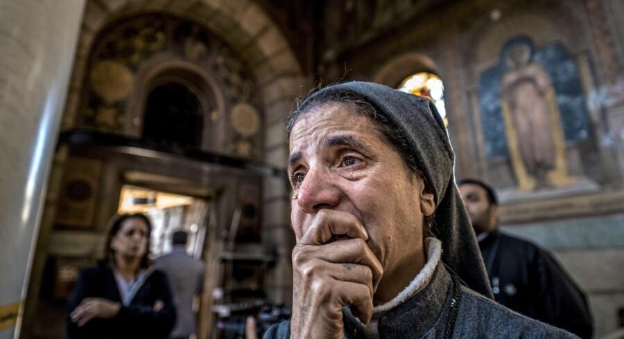 Ni ud af ti lande, hvor kristne har det værst, er muslimske. I december 2016 omkom 25 kirkegængere, da en fjernstyret bombe blev detoneret i den koptisk-ortodokse kirke i Egyptens hovedstad, Kairo. Foto: Khaled Desouki / AFP Photo