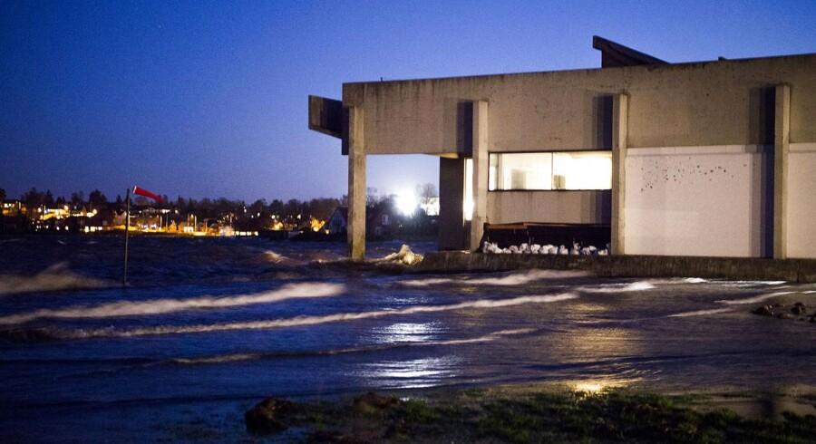 Vandstanden vil stige kraftigt i Vadehavet og i indre danske farvande i løbet af aftenen og natten, advarer DMI. Billedet er fra 27. december, hvor stormen Urd rammer Roskilde.