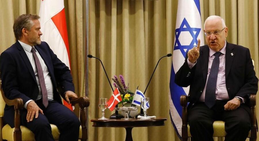 Udenrigsminister Anders Samuelsen (LA) på besøg i Jerusalem hos Israels præsident, Reuven Rivlin, i maj 2017.