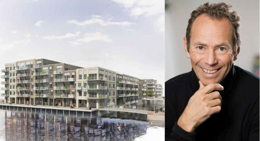 Illustration over de nye planer på Teglholmen samt Ivar Tollefsen. PR-foto fra Heimstaden