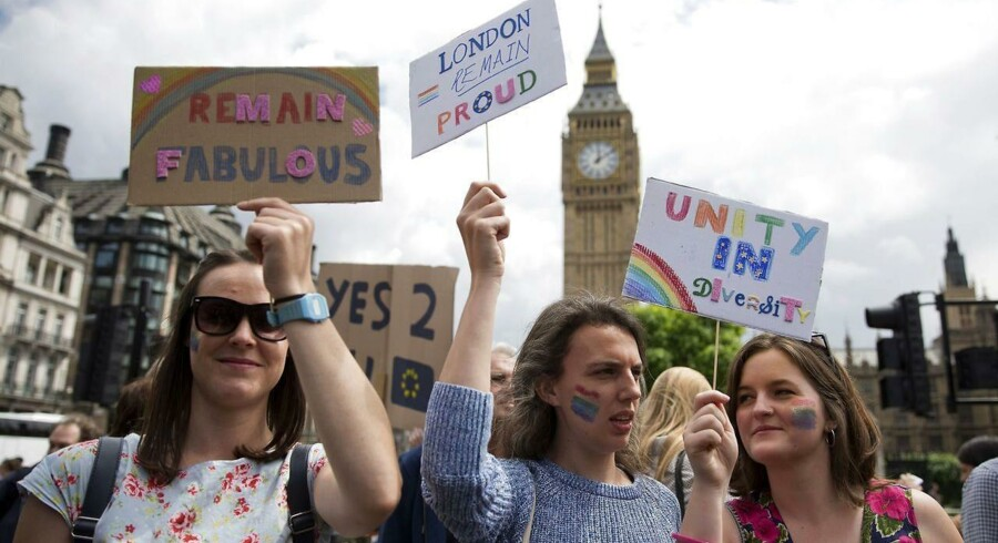Demonstranter i London under »Brexit« valget.