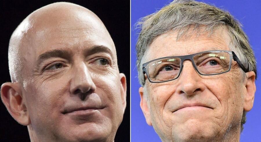 Jeff Bezos (venstre) overhalede i få timer Bill Gates (højre) torsdag på listen over verdens rigeste personer.