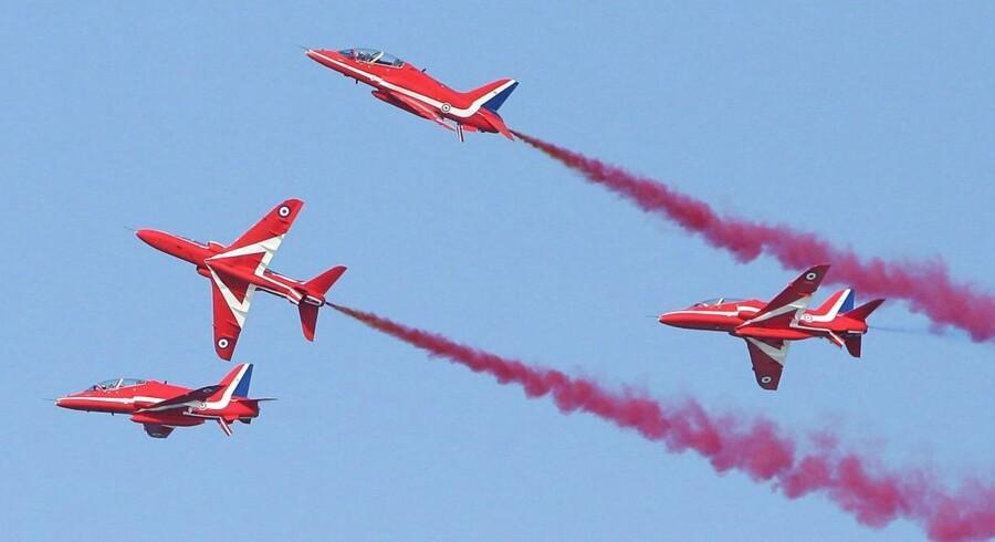 Arkivfoto: Der er tale om et lignende fly af typen Hawk, som benyttes af pilotstyrken Red Arrows, der står for militære kunstflyvninger.