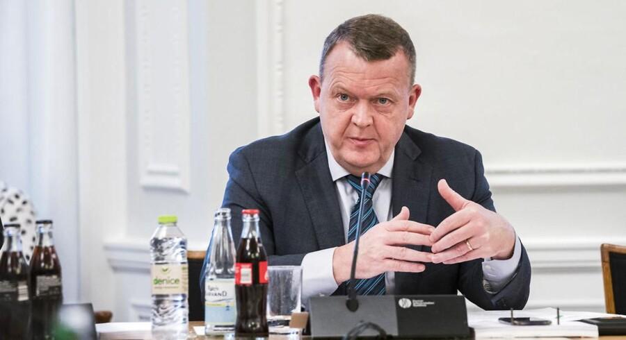 Statsminister Lars Løkke Rasmussen (V) ved samrådet om kvotekonger onsdag.