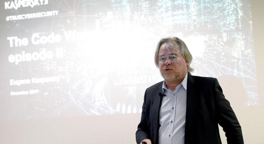 Eugene Kaspersky, som er topchef for Kaspersky Lab (her på en konference i London tirsdag), afviser nogen sinde at være blevet presset af den russiske efterretningstjeneste til at misbruge sin software. Foto: Mary Turner, Reuters/Scanpix