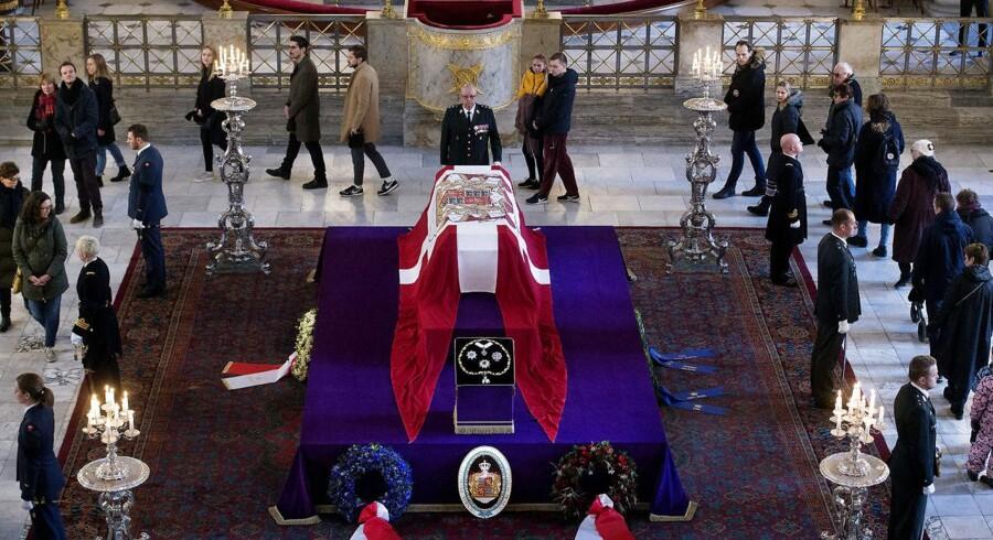 Castrum Doloris for offentligheden i Christiansborg Slotskirke lørdag den 17 februar 2018.. Prins Henrik sov stille ind på Fredensborg slot den 13. februar 2018 (Foto: Liselotte Sabroe/Scanpix 2018)