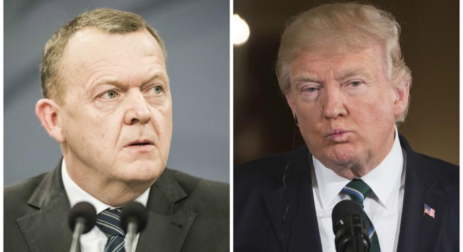 Billederne er taget af henholdsvis Asger Ladefoged (billedet af Lars Løkke Rasmussen) og Saul Loeb fra AFP (billedet af Donald Trump).