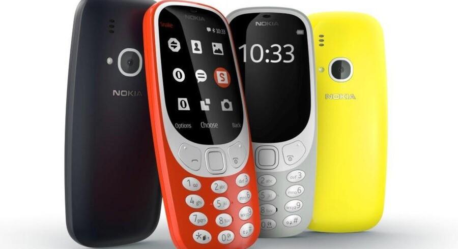 Ser de bekendte ud? Det er de også. Her er Nokias nye udgave af klassikeren 3310, verdens bedst sælgende mobiltelefon. Foto: HMD
