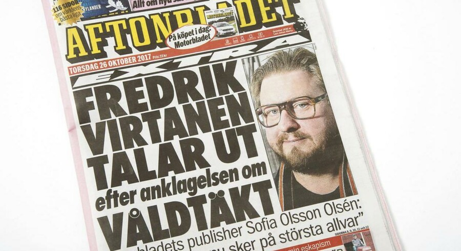 Aftonbladets forside, hvor den svenske medarbejder taler ud om anklagen for voldtægt og sexchikane.