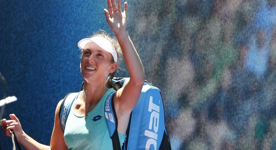 Hvis danske Caroline Wozniacki vinder sin kvartfinale, så skal hun i semifinalen møde Elise Mertens (på billedet), der natten til tirsdag vandt over fjerdeseedede Elina Svitolina. Reuters/Toru Hanai