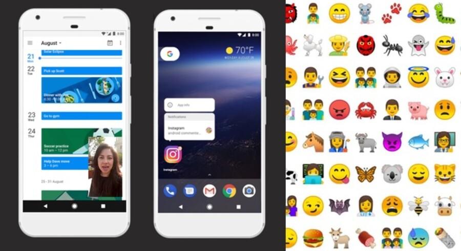 I den nye Android 8 - med tilnavnet Oreo - kan man have en rude åbent med levende billeder (film, Skype-samtale eller andet), samtidig med at man laver noget andet. Appikonerne viser nu en prik, når der er kommet notifikationer, og disse kan læses, uden at man behøver at åbne selve appen. Endelig har emojiikonerne fået nyt og fladt design. Foto: Google