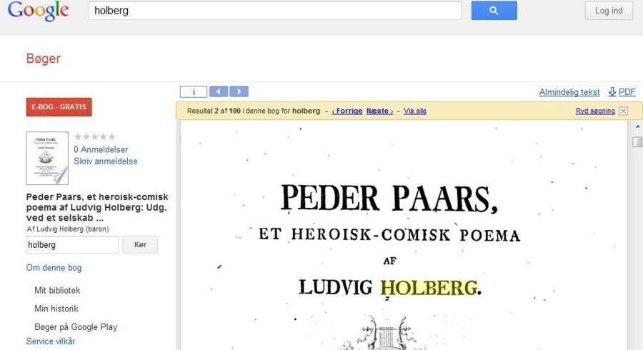 Google Bøger rummer også et større udvalg af ældre, danske værker, her Holbergs Peder Paars.